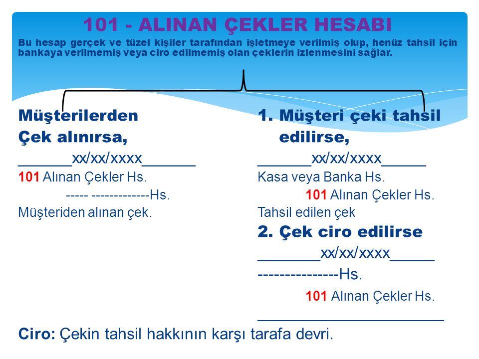101 - ALINAN ÇEKLER HESABI Müşterilerden 1. Müşteri çeki tahsil