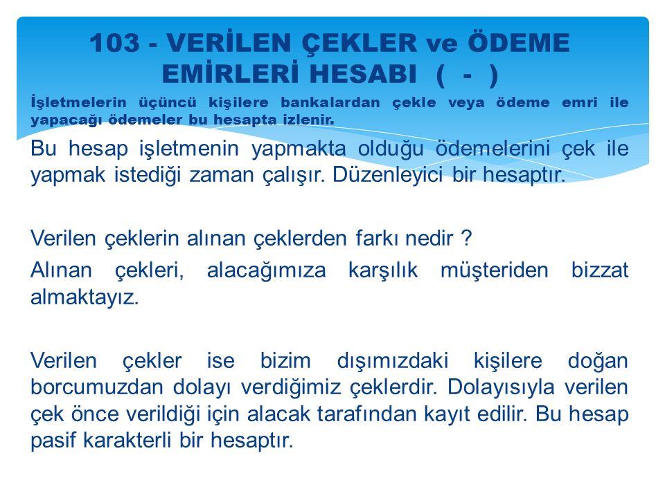 103 - VERİLEN ÇEKLER ve ÖDEME EMİRLERİ HESABI ( - )