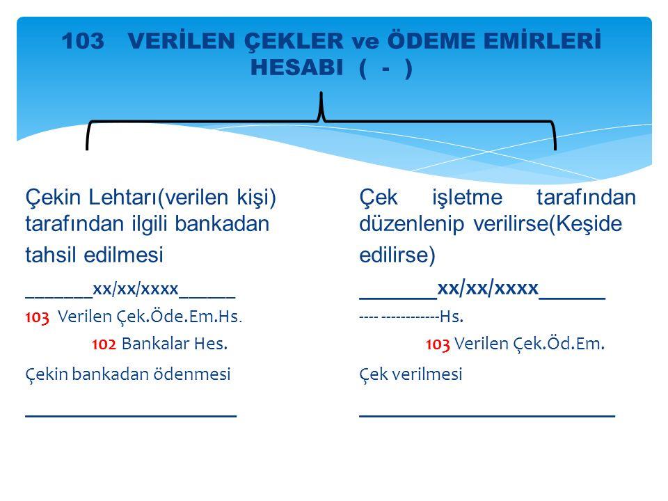 103 VERİLEN ÇEKLER ve ÖDEME EMİRLERİ HESABI ( - )