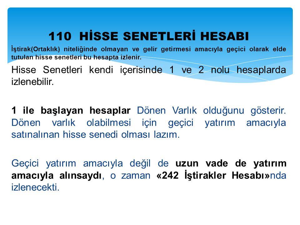 110 HİSSE SENETLERİ HESABI