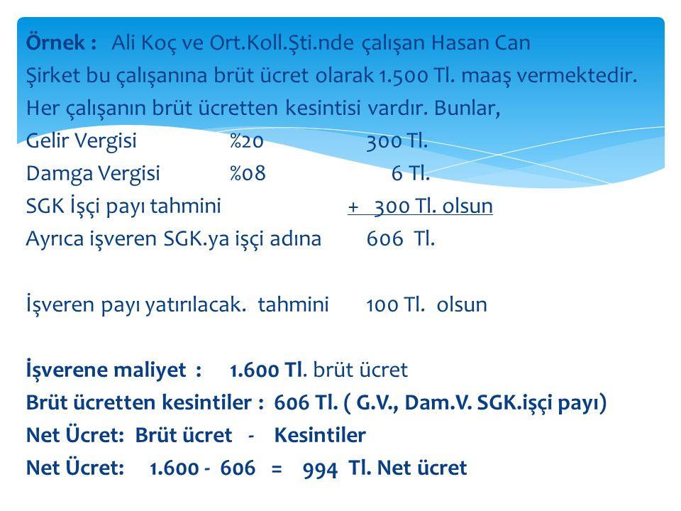 Örnek : Ali Koç ve Ort. Koll. Şti