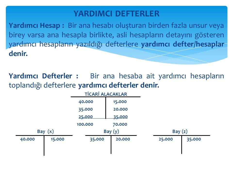 YARDIMCI DEFTERLER