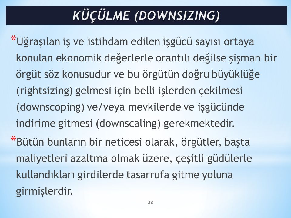 KÜÇÜLME (DOWNSIZING)