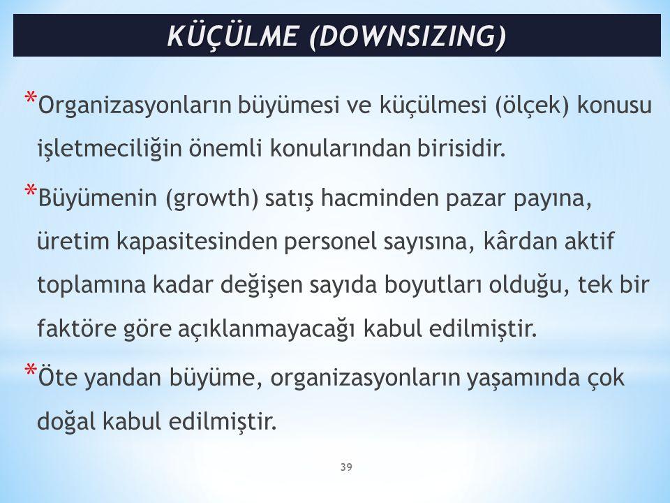 KÜÇÜLME (DOWNSIZING) Organizasyonların büyümesi ve küçülmesi (ölçek) konusu işletmeciliğin önemli konularından birisidir.