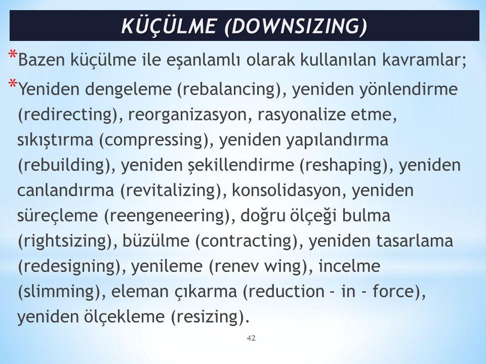 KÜÇÜLME (DOWNSIZING) Bazen küçülme ile eşanlamlı olarak kullanılan kavramlar;