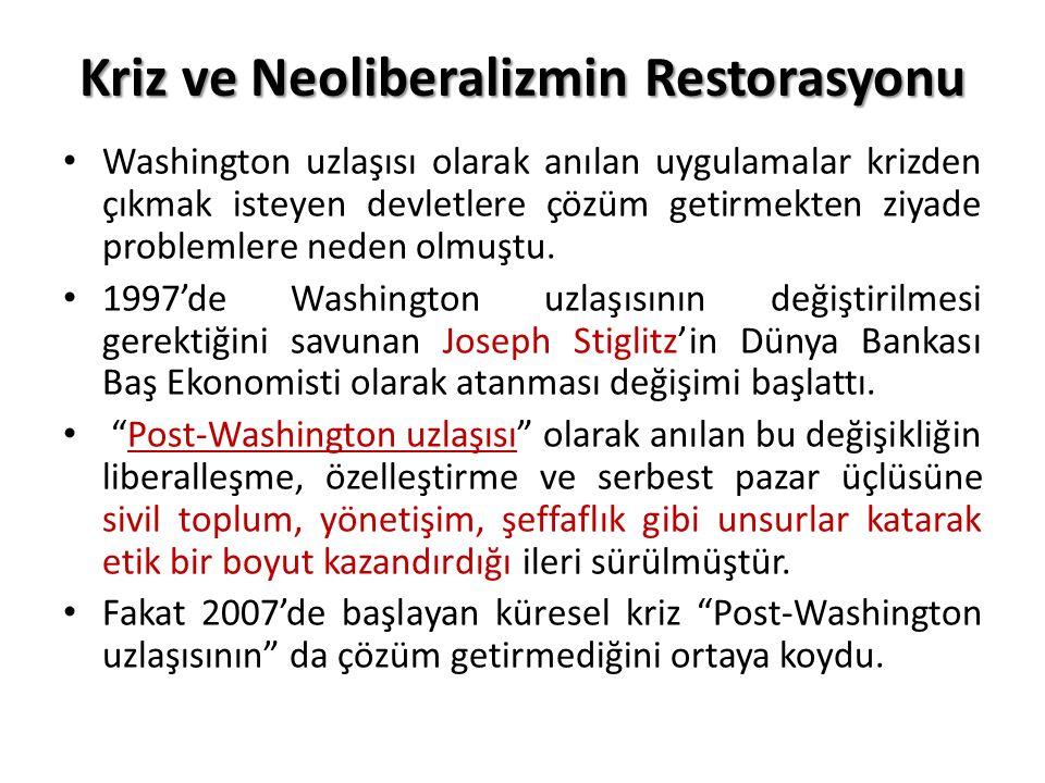 Kriz ve Neoliberalizmin Restorasyonu
