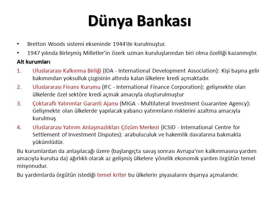 Dünya Bankası Bretton Woods sistemi ekseninde 1944'de kurulmuştur.