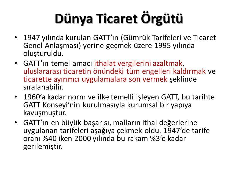 Dünya Ticaret Örgütü 1947 yılında kurulan GATT'ın (Gümrük Tarifeleri ve Ticaret Genel Anlaşması) yerine geçmek üzere 1995 yılında oluşturuldu.