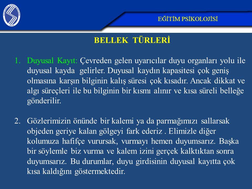 26.04.2017 EĞİTİM PSİKOLOJİSİ. BELLEK TÜRLERİ.