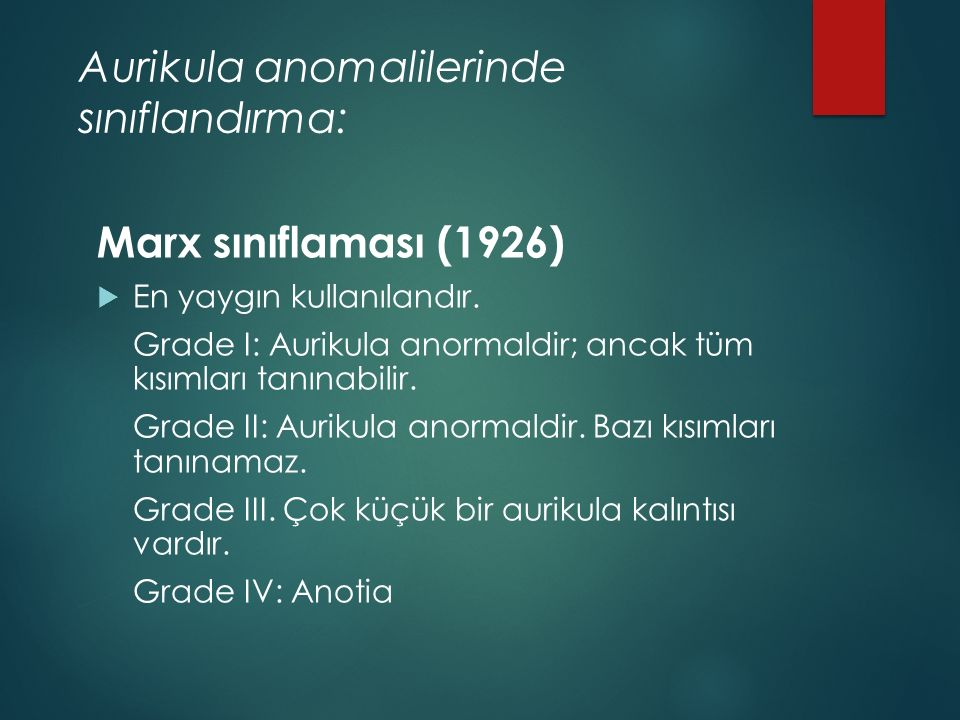 Aurikula anomalilerinde sınıflandırma: