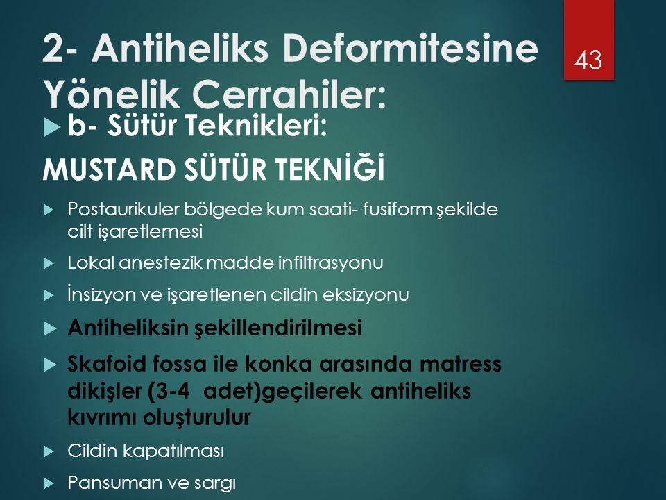 2- Antiheliks Deformitesine Yönelik Cerrahiler: