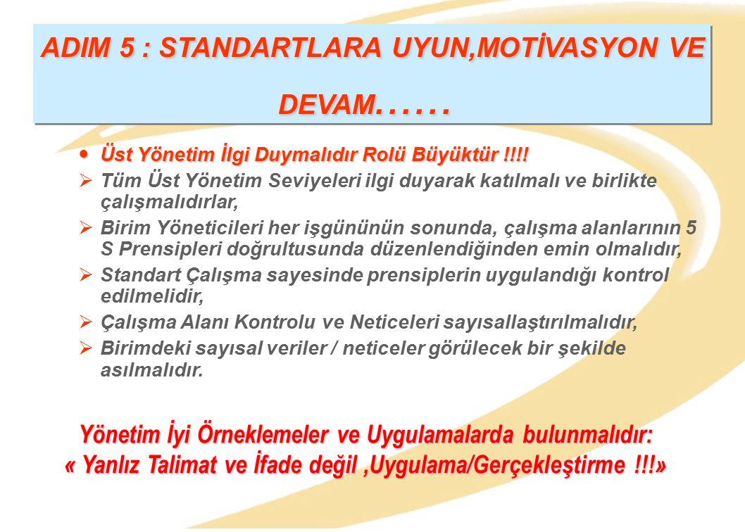 ADIM 5 : STANDARTLARA UYUN,MOTİVASYON VE DEVAM......