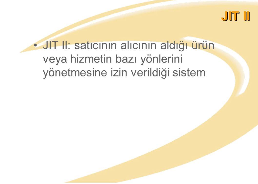 JIT II JIT II: satıcının alıcının aldığı ürün veya hizmetin bazı yönlerini yönetmesine izin verildiği sistem.
