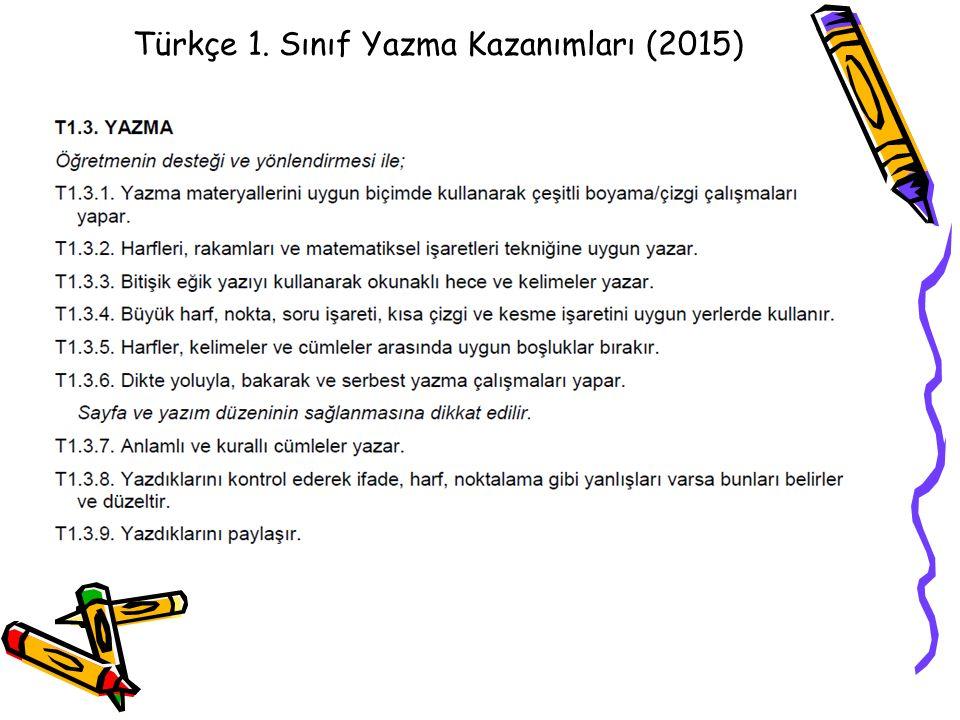 Türkçe 1. Sınıf Yazma Kazanımları (2015)