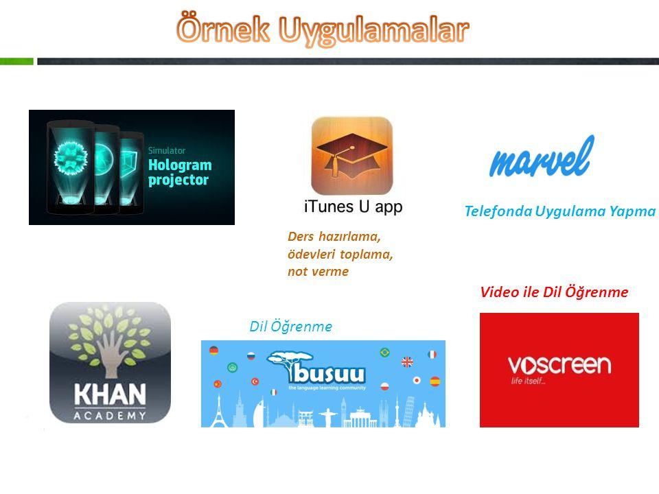 Örnek Uygulamalar Telefonda Uygulama Yapma Video ile Dil Öğrenme
