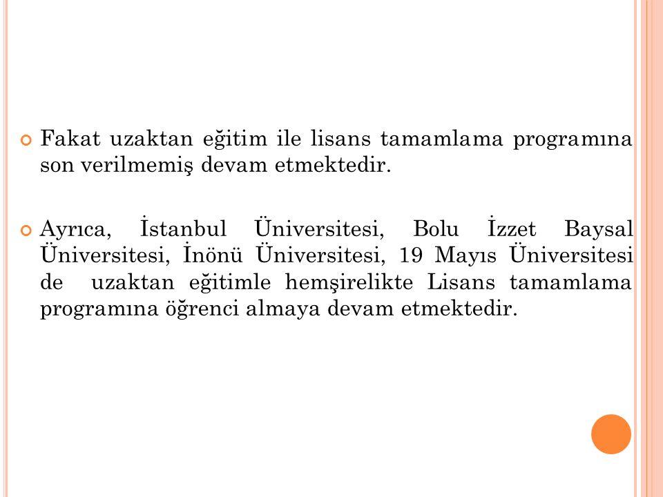 Fakat uzaktan eğitim ile lisans tamamlama programına son verilmemiş devam etmektedir.