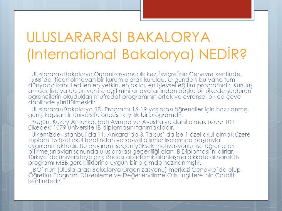 ULUSLARARASI BAKALORYA (International Bakalorya) NEDİR