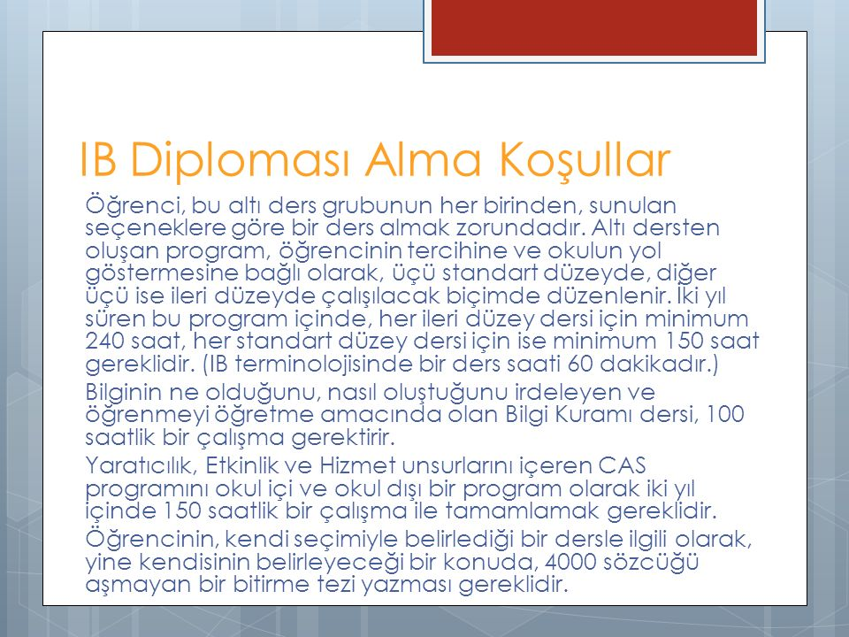 IB Diploması Alma Koşullar