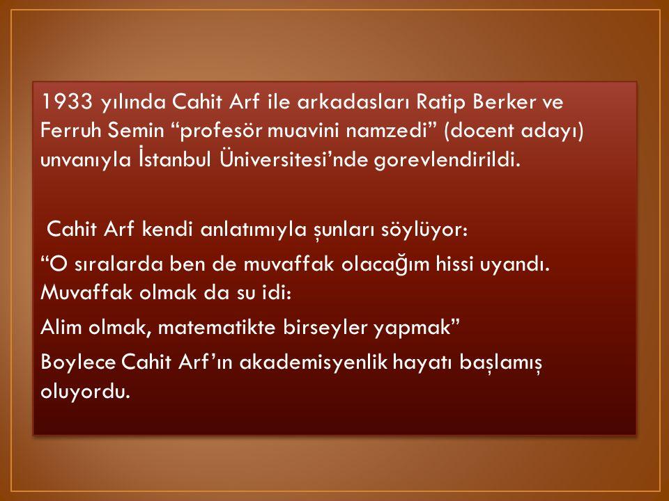 1933 yılında Cahit Arf ile arkadasları Ratip Berker ve Ferruh Semin profesör muavini namzedi (docent adayı) unvanıyla İstanbul Üniversitesi'nde gorevlendirildi.