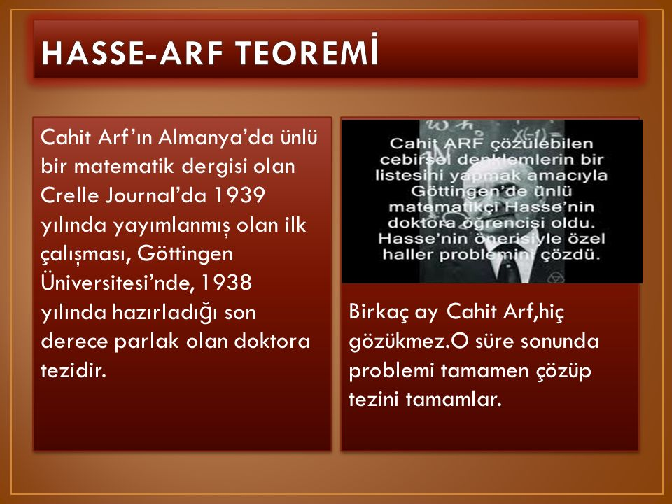 HASSE-ARF TEOREMİ