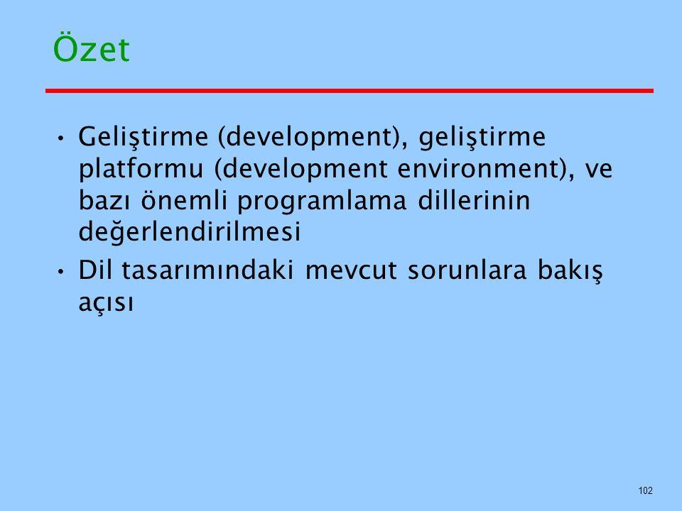 Özet Geliştirme (development), geliştirme platformu (development environment), ve bazı önemli programlama dillerinin değerlendirilmesi.