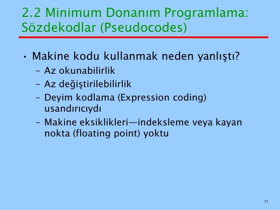 2.2 Minimum Donanım Programlama: Sözdekodlar (Pseudocodes)