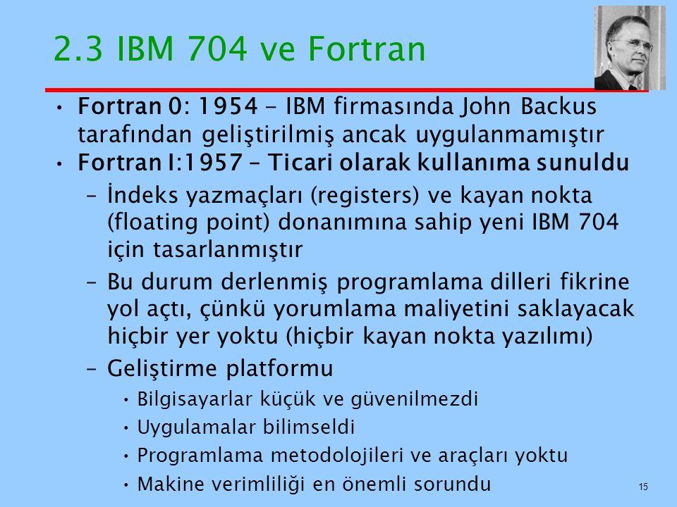 2.3 IBM 704 ve Fortran Fortran 0: 1954 - IBM firmasında John Backus tarafından geliştirilmiş ancak uygulanmamıştır.