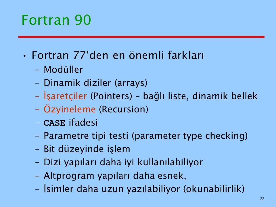 Fortran 90 Fortran 77'den en önemli farkları Modüller