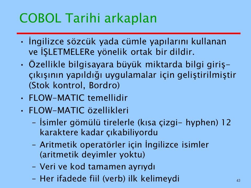 COBOL Tarihi arkaplan İngilizce sözcük yada cümle yapılarını kullanan ve İŞLETMELERe yönelik ortak bir dildir.