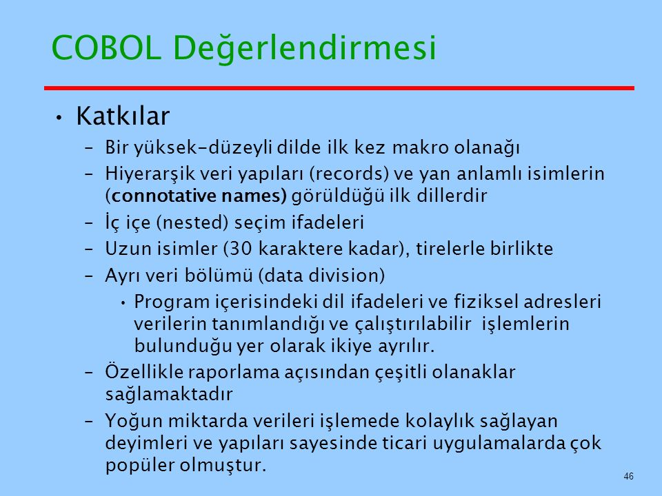 COBOL Değerlendirmesi