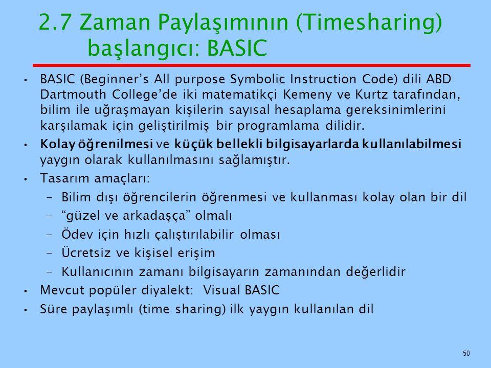 2.7 Zaman Paylaşımının (Timesharing) başlangıcı: BASIC
