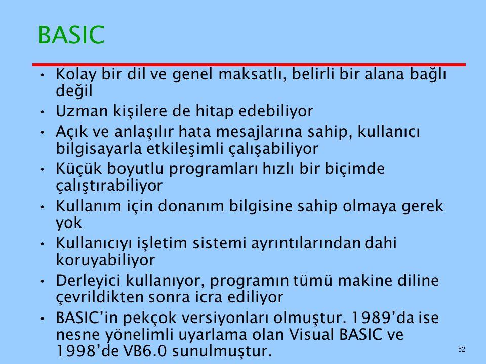 BASIC Kolay bir dil ve genel maksatlı, belirli bir alana bağlı değil