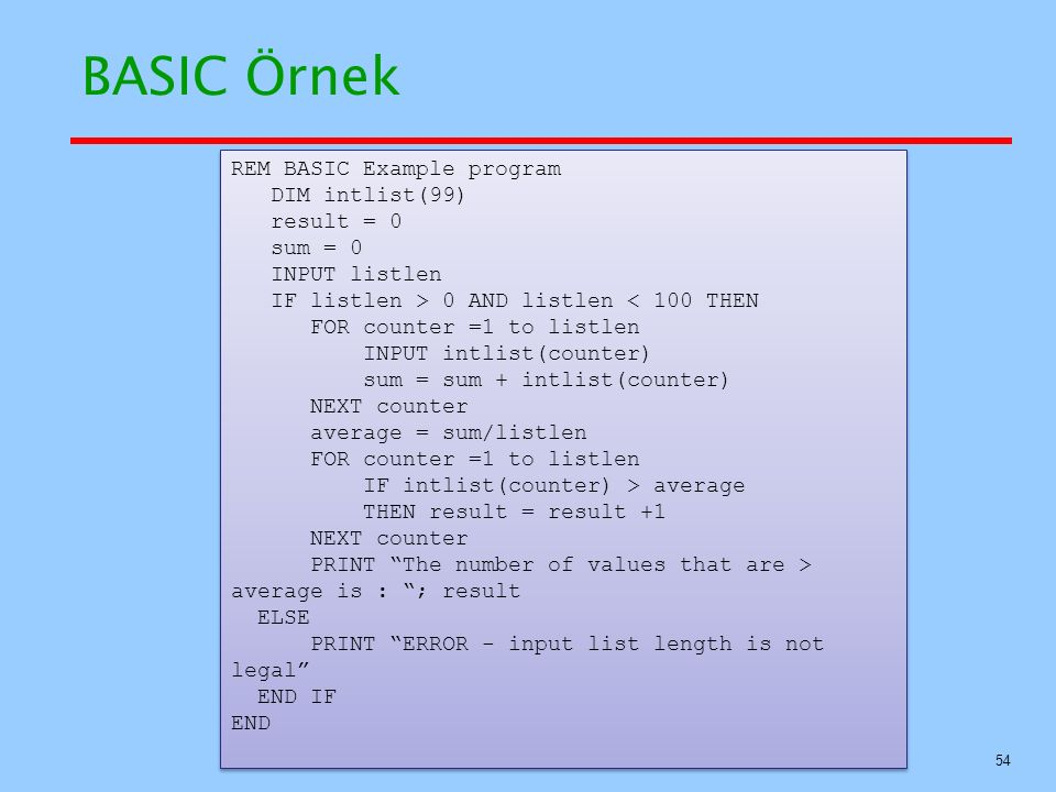 BASIC Örnek REM BASIC Example program DIM intlist(99) result = 0