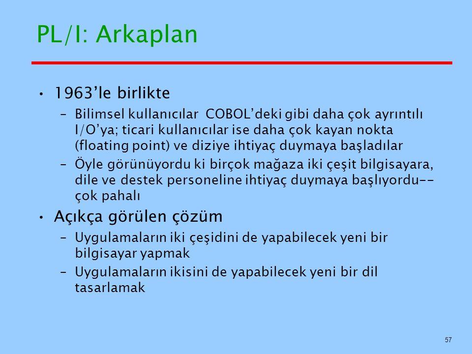 PL/I: Arkaplan 1963'le birlikte Açıkça görülen çözüm