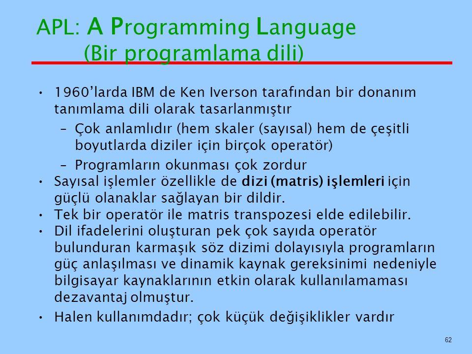 APL: A Programming Language (Bir programlama dili)