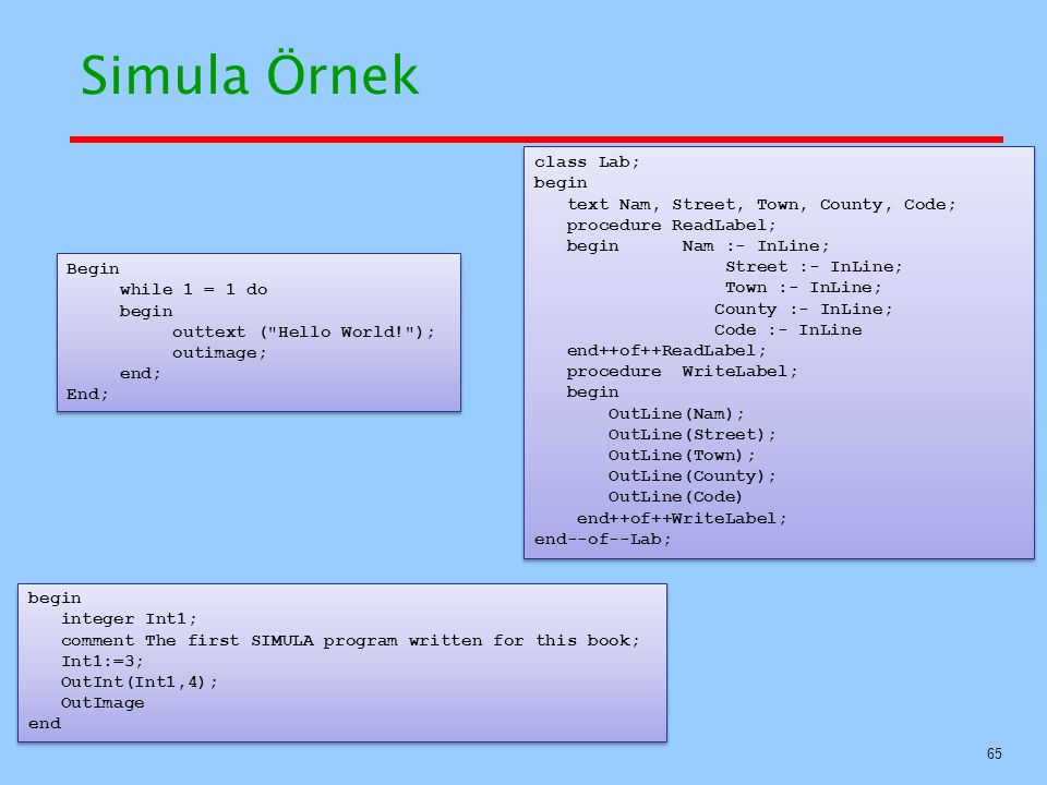 Simula Örnek class Lab; begin text Nam, Street, Town, County, Code;