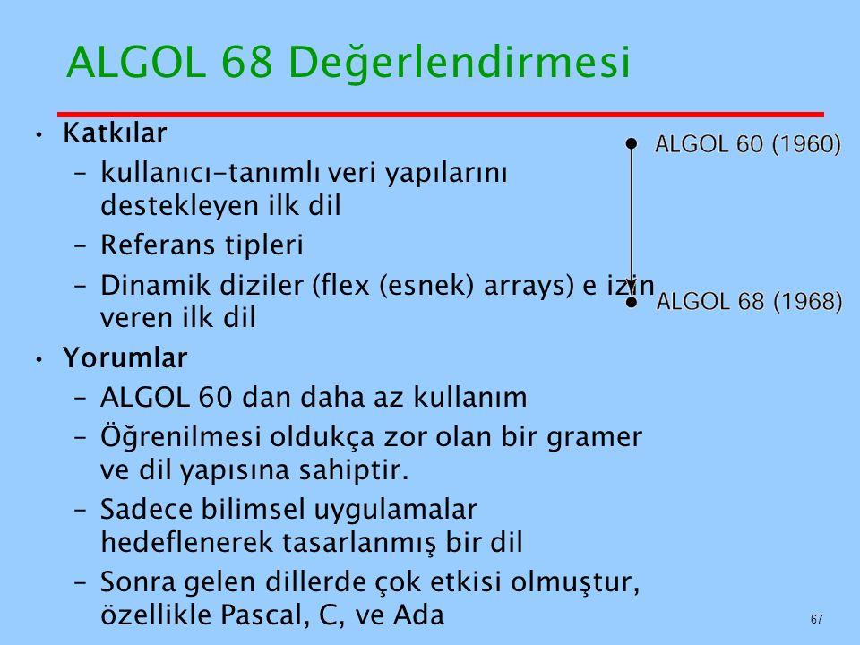 ALGOL 68 Değerlendirmesi