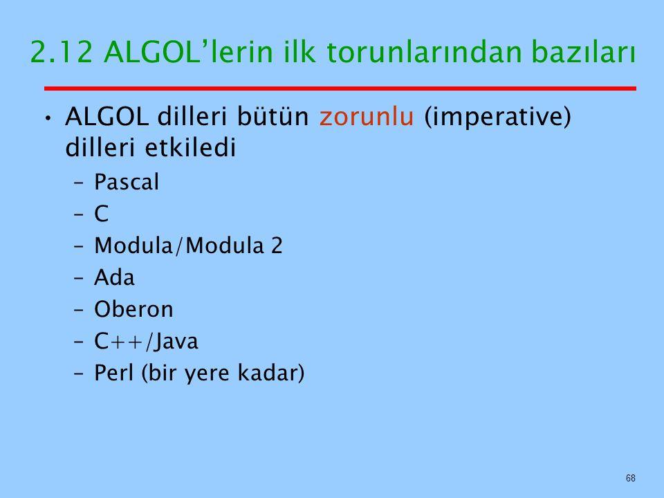 2.12 ALGOL'lerin ilk torunlarından bazıları