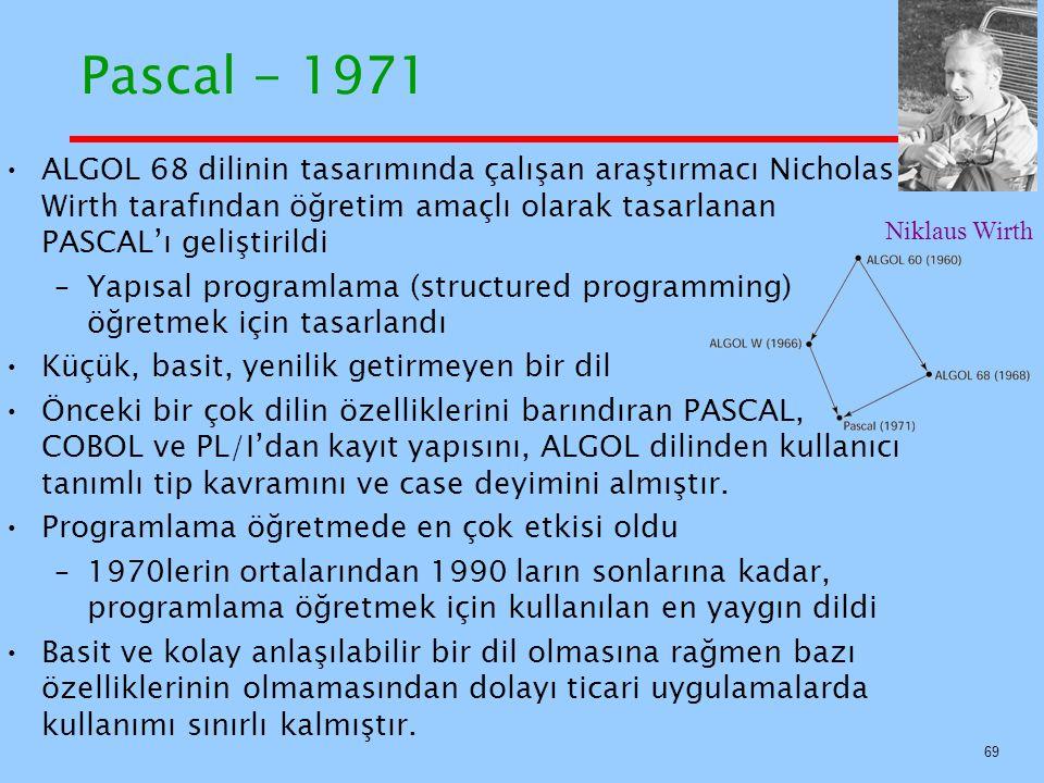 Pascal - 1971 ALGOL 68 dilinin tasarımında çalışan araştırmacı Nicholas Wirth tarafından öğretim amaçlı olarak tasarlanan PASCAL'ı geliştirildi.