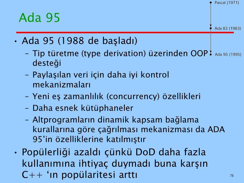 Ada 95 Ada 95 (1988 de başladı) Tip türetme (type derivation) üzerinden OOP desteği. Paylaşılan veri için daha iyi kontrol mekanizmaları.