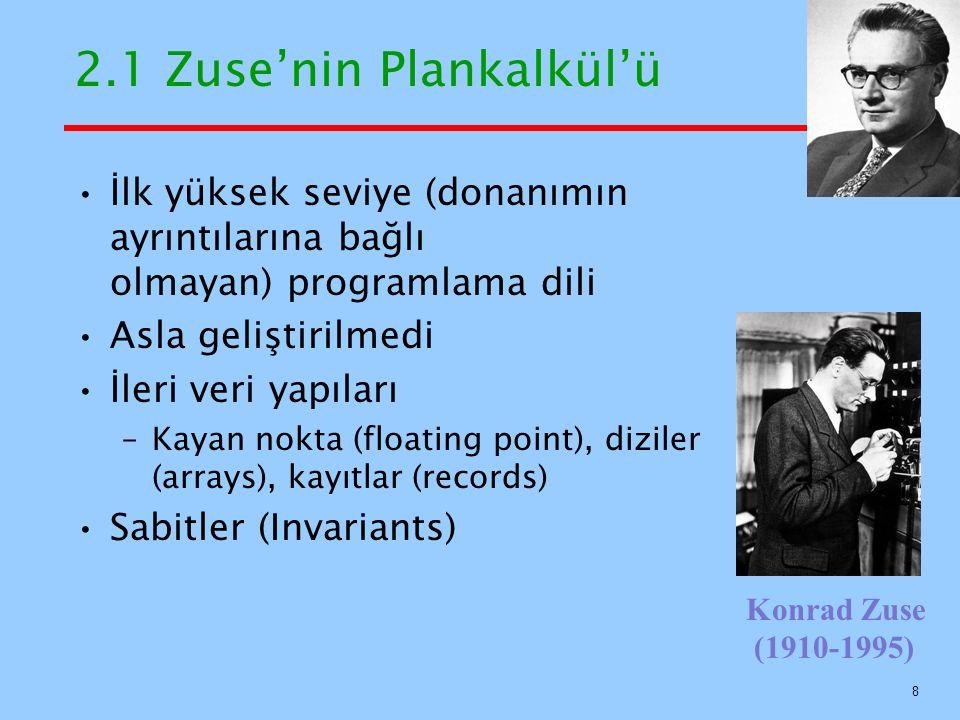 2.1 Zuse'nin Plankalkül'ü