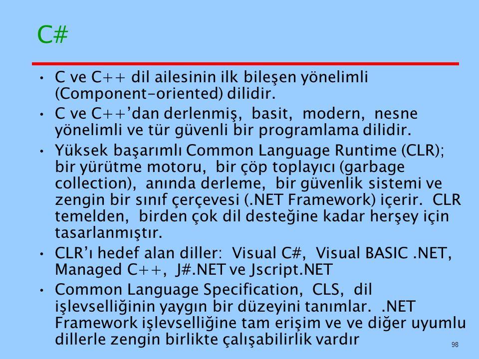 C# C ve C++ dil ailesinin ilk bileşen yönelimli (Component-oriented) dilidir.