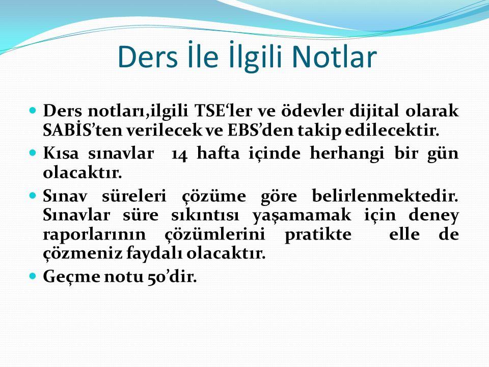 Ders İle İlgili Notlar Ders notları,ilgili TSE'ler ve ödevler dijital olarak SABİS'ten verilecek ve EBS'den takip edilecektir.
