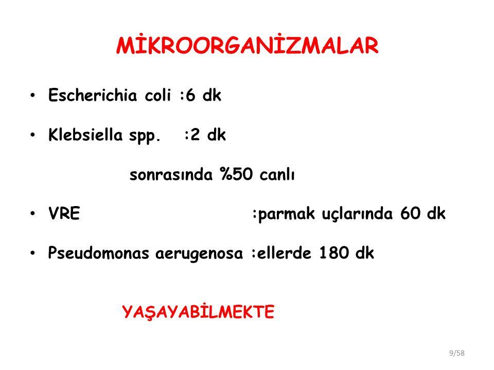 MİKROORGANİZMALAR Escherichia coli :6 dk Klebsiella spp. :2 dk