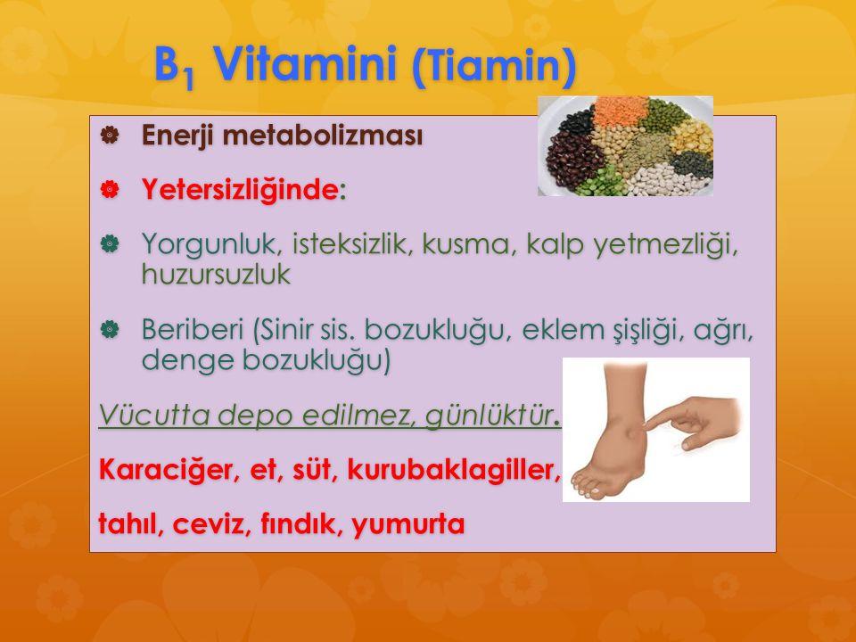 B1 Vitamini (Tiamin) Enerji metabolizması Yetersizliğinde: