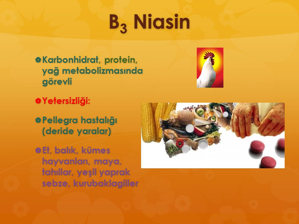 B3 Niasin Karbonhidrat, protein, yağ metabolizmasında görevli