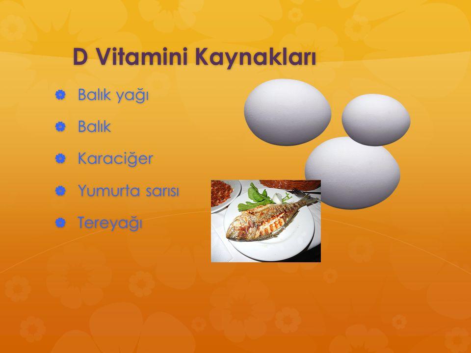 D Vitamini Kaynakları Balık yağı Balık Karaciğer Yumurta sarısı