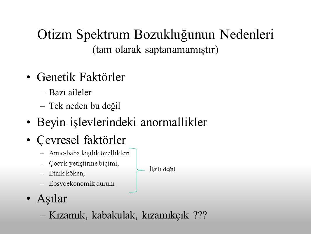 Otizm Spektrum Bozukluğunun Nedenleri (tam olarak saptanamamıştır)