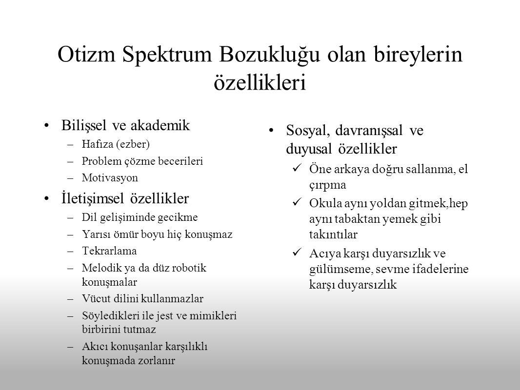 Otizm Spektrum Bozukluğu olan bireylerin özellikleri