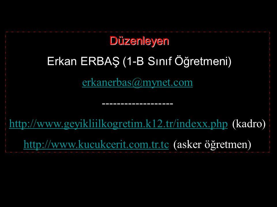 Erkan ERBAŞ (1-B Sınıf Öğretmeni) erkanerbas@mynet.com